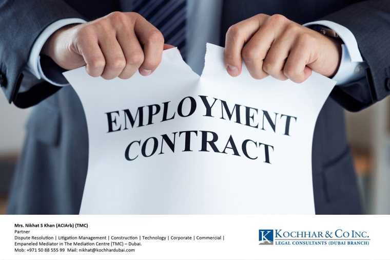 Close up of businessman hands breaking employment contract